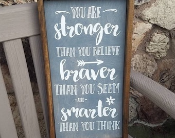 Winnie The Pooh Quote, You are Braver, You Are Smarter, You are Stronger, Nursery Decor, Children's Bedroom Decor, Inspirational Decor