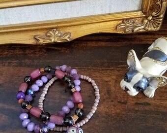 owl medicine stack bracelet set of 3