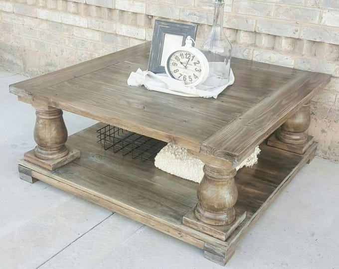 Farmhouse Coffee Table - Square Balustrade Coffee Table - Square Coffee Table - Coffee Table -  Farmhouse Table - Farmhouse Decor