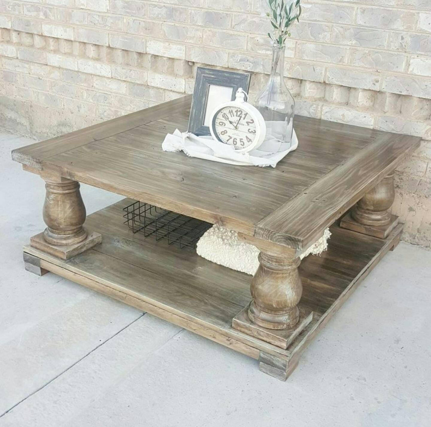 Local pickup only Farmhouse Coffee Table Square Balustrade