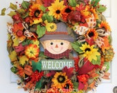 XL Fall Welcome Burlap Wreath, Colorful Scarecrow Sign, Thanksgiving Harvest Pumpkin Door Hanging, Autumn Décor, Fall Burlap Mesh Wreath