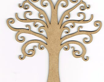 Wood Ornate Tree Shape Decoration Embellishment