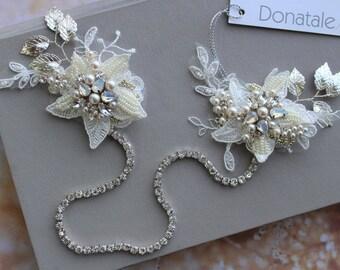 Wedding Hair chain, Opal Wedding hair piece, Bridal Headpiece, Bridal hair Flower, Bridal Hair Piece, Opal headpiece -ALYSSA