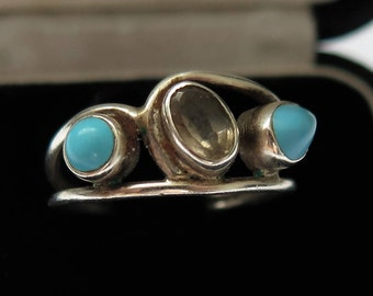 Vintage Turquoise And Smoky Quartz Silver flower Ring Size N/6 3/4 1970's-80's Jewellery/ Jewelry