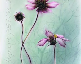 Original art Contemporary painting Small Modern Wall decor Interior artwork Painted cosmos flowers Textile Green Pink picture