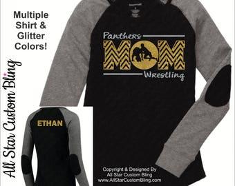 Wrestling Mom Chevron Elbow Patch Slub Long Sleeve Shirt, Wrestling Mom Long Sleeve Shirt, Wrestling Mom Shirt, Custom Wrestling Shirt