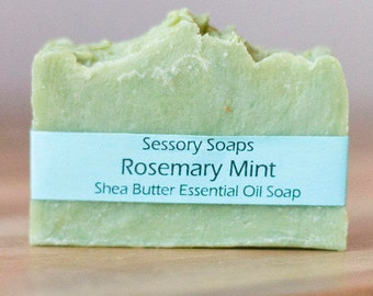 Rosemary Mint Essential Oil Shea Butter Bar Soap