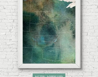 Midwest Usa Map Etsy - Free printable midwest us region map