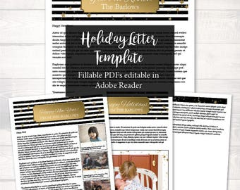 New Year Letter Template -  holiday letter template, family letter printable, editable letter pdf, christmas pdf, letter printable, stripe