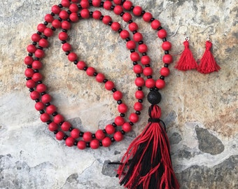 Long Beaded tassel necklace red and black necklace tassel necklace red Bohemian necklace boho necklace  jewelry  Game Day ladies necklace