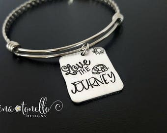 Love the Journey Bracelet, Love the Journey Jewelry, Inspirational Bracelet, Happy Camper Jewelry, Camping Lover Gift, Graduation Gift, TW