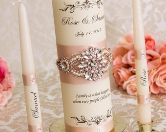 Rose Gold Wedding Unity Candles Set, Personalized Unity Candle Set, Monogram Wedding Candles, Blush Unity Candles
