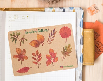 Watercolour autumn leaves - decorative vintage look kraft watercolour planner stickers suitable for any planner -472-