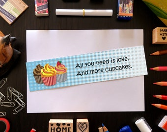 Cupcake bookmark with fun quote, laminated bookmark, food bookmark, book lover gift, ironic quotes, fun bookmarks, funny quotes about life