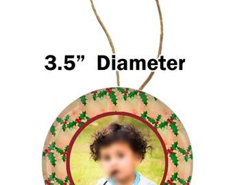Christmas ornament, photo button ornament,photo button style ornament, christmas photo ornament