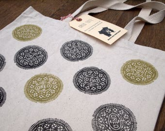 Oreo Tote Bag/Black and Gold/100% Cotton Canvas/Shopping Bag/Handprinted