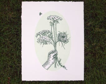 Queen Anne's Lace/Wildflowers/Original Linocut Print/11x14 inches