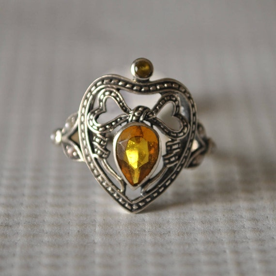 Sterling Silver Citrine Seed Pearl Ring Sz 7 #9795