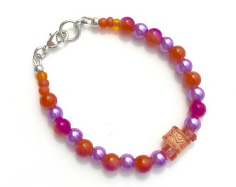 Fun Bracelet, Multi Colored Bracelet, Bright Bracelet,  Glass Pearls Jewelry, Fuchsia Orange and Purple Bracelet
