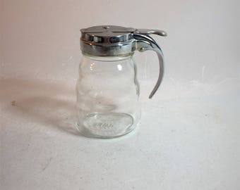 Mid Century Glass Syrup Pitcher Metal Lid
