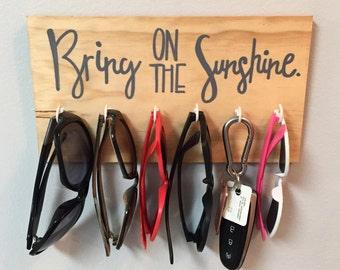 sunglass hanger | key hanger | bring on the sunshine | handmade home decor | wall hanging
