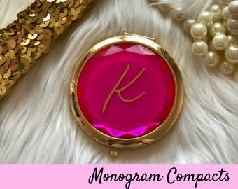 Bridesmaid Gift, Personalized Compact Mirror, Personalized Gift, Personalized Bridesmaid Gift Ideas, Jeweled Compact Mirror