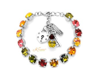 THANKSGIVING GATHERING 8mm Charm Bracelet Made With Swarovski Crystal *Choose Finish & Size *Karnas Design Studio™ *Free Shipping*
