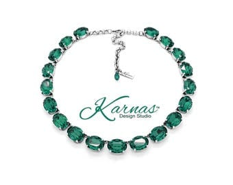 LA BELLE ÉPOQUE Emerald 18x13mm Georgian Style Necklace Swarovski Crystal *Antique Silver *Karnas Design Studio™ *Free Shipping