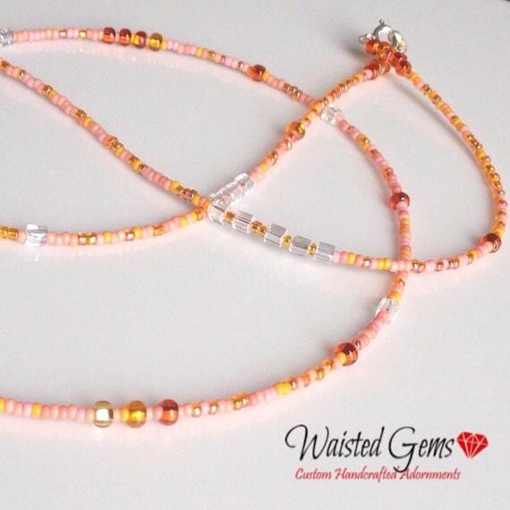 Orange Sherbert Waist Beads, Summer Party, Orang Waist beads, Belly chain, Summer, barefoot sandals, Peach Waist Beads, Boho Jewelry