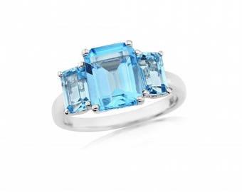 Blue Topaz White Gold Ring