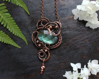 Unique jewelry Boho pendant  Blue Labradorite pendant necklace  Wife gift for her Wire wrap pendant Copper pendantWire wrapped jewelry