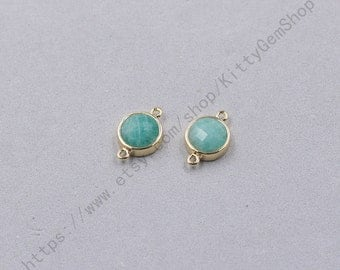 12mm Faceted Amazonite Connectors -- With Electroplated Gold Edge Charms Wholesale Supplies YHA-345