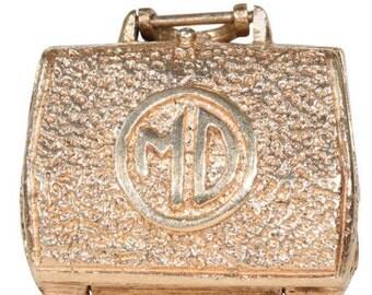 Vintage Gold Doctor's Bag Locket Pendant