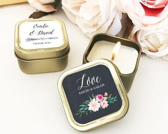 Gold Wedding Favors Custom Candle Wedding Favors Personalized Wedding Favors Bulk Candle Favors for Wedding Guests  (EB3211GDN) 12| pcs