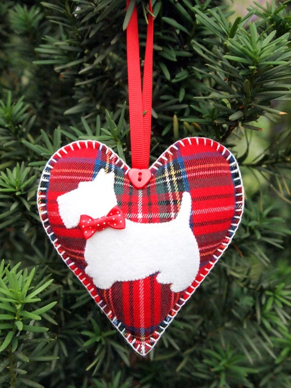 Scottie Heart . Red Stewart Tartan. Christmas ornament. Valentine Heart. Different colors Double-sided.