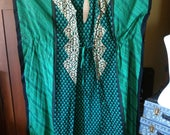 Open front Cover Up with ties -- Cotton Batik Green black & metallic gold Caftan Long Tunic Butterfly Sleeve style Belly Dance Fits One Size