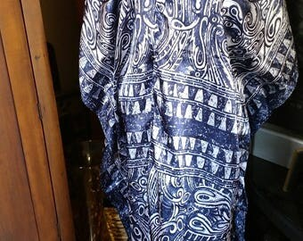 Open front Cover Up Robe -- Polyester Satin navy blue & gray print Caftan Long Tunic Belly Dance Fits One Size