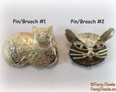 CATS Gold-tone Pins-Brooches-Choose One-Vintage 1980s Jewelry kitty kittens head Gifts for Girls Eighties Stocking Stuffers Calico Quilted
