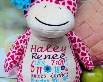 "PINK Giraffe 12"" custom plush stuffie stuffed animal birth announcement. Graduation, christening, child's name, Christmas, Easter, Holiday"