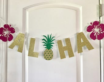 Aloha Banner, Aloha Bridal Shower, Aloha Party, Aloha Decor, Aloha, Tropical Party, Hawaiian Banner, Luau Party,  Aloha Bridal Shower Decor