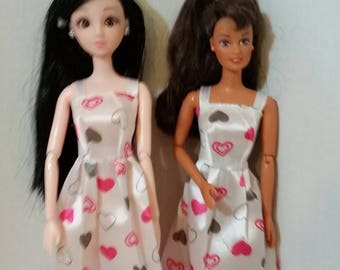 "B 088 Handmade  Long White With Hearts Print Satin Summer Dress. For Barbie and other For 11 1/2"" and 12"" fashion dolls,"