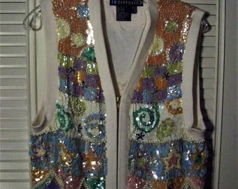 Sweater Vest 10  , Sequins Galore, Front and Back by IB Diffusion. Mardi Gras Top, - see details