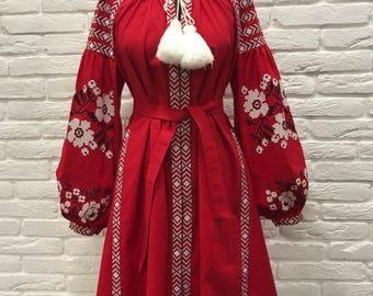 Bohemian Linen Ukrainian Embroidered Dress with pockets, Vyshyvanka, Boho Dress, Ukrainian Wedding, Ukrainian Boho, Red Boho Embroidered