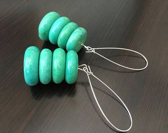 GREEN TURQUOISE Earrings Long Green Earrings Green Gemstone Earrings Green Dangle Earrings Green Statement Earrings Tropical Earrings Green