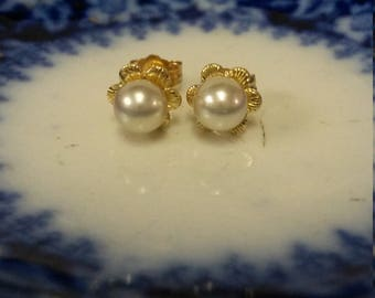 5mm Estate 14k Yellow Gold Natural Pearl Studs Earrings Stud GS1586