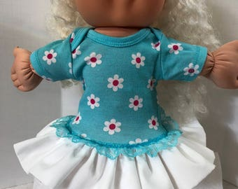 "Cabbage Patch 14 inch BABY or Smaller 14 inch Doll Clothes, Cute White/Pink ""DAISY FLOWERS"" Ruffle & Lace Trim Dress, 14 inch Cabbage Patch"