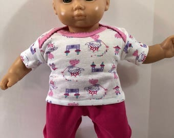 "15 inch Bitty Baby Clothes, 2-Piece Outfit, Whimsical ""PRINCESS & CASTLES"" Top, Pink Pants, 15 inch Bitty Baby and Twin Doll, American Doll"