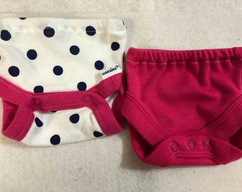 Baby Doll Diaper Covers, Panty, 15 inch AG Bitty Baby Clothes or Twin, Fits 16 inch Cabbage Patch Doll, SET of 2 for 3.00, POLKA Dots & Pink