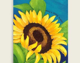 Make a Joyful Noise - Sunflower, Floral Art Print by Sharon Sudduth, 8x10 inch