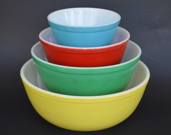 Pyrex Primary Bowls, Complete Set of 4, Red, Green, Yellow, Blue, 401,402,403,404, Vintage Nesting Bowls, Vintage Pyrex